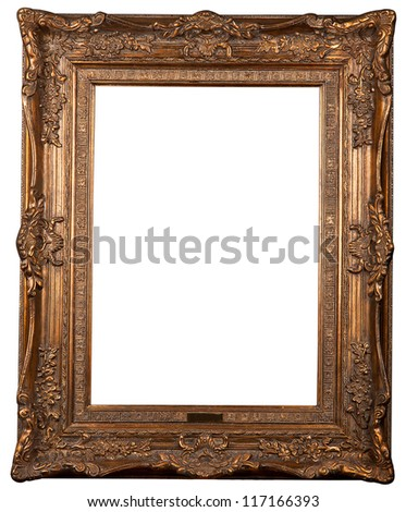 Classical carved frame on a white background - stock photo