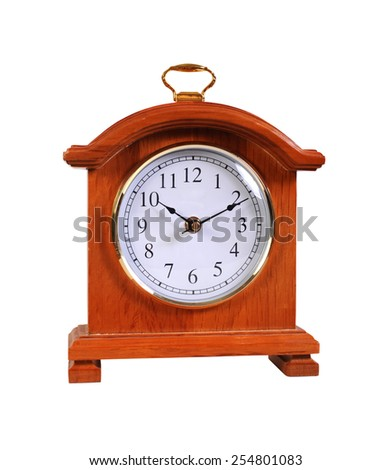 classical clock in the wooden case - stock photo