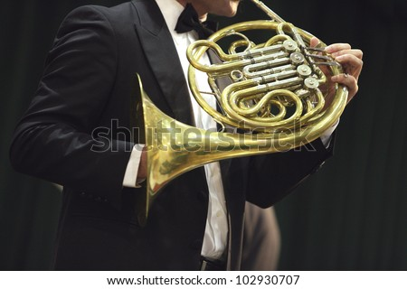 Classical concert music: french horn - stock photo