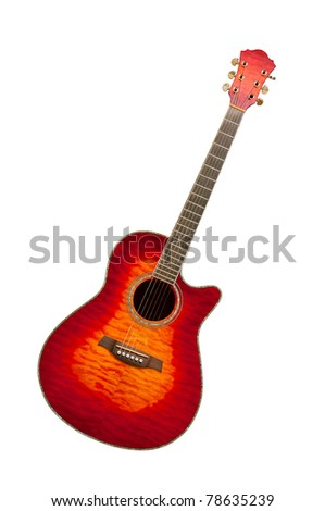 Classical curly maple acoustic guitar, isolated on white background - stock photo