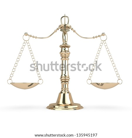 Classical gold scales - stock photo
