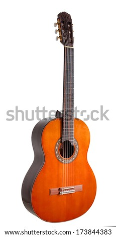 Classical guitar, back ans sides - indian rosewood, the top is spruce, Rose is handmade.The fretboard is carved in modern style,  Finishing - high gloss polyurethane lacquer. - stock photo