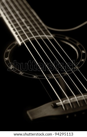 Classical guitar closeup - includes strings, fingerboard and part of the body. Can be used as a nice background, album cover. Dark colors, contrast - stock photo