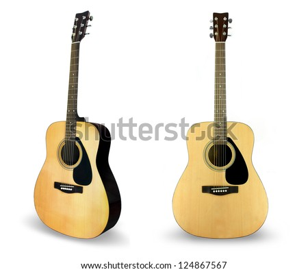 Classical guitar isolated on white - stock photo