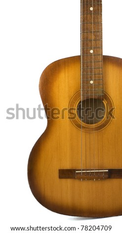 classical guitar isolated on white background - stock photo