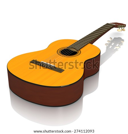 Classical Guitar on White Background 3D Illustration - stock photo