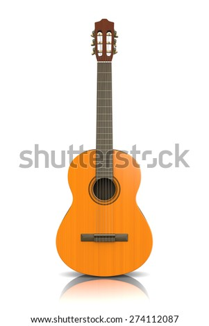 Classical Guitar on White Background 3D Photorealistic Illustration - stock photo