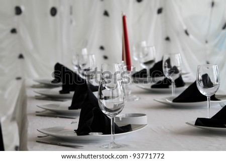 Classical interior, dining table with chairs - stock photo