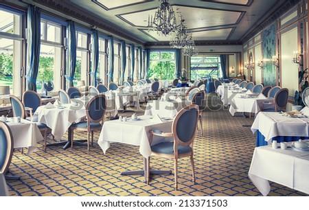 classical interior of German restaurant  - stock photo