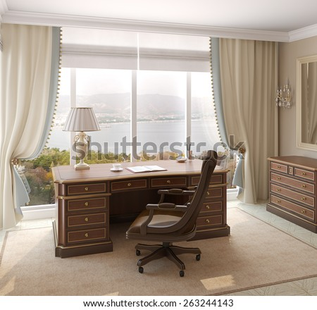 Classical interior of home office. 3d render. Photo behind the window was made by me. - stock photo