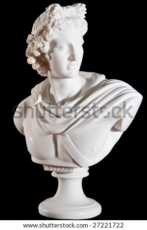 Classical marble white Apollo Bust isolated on black background - stock photo
