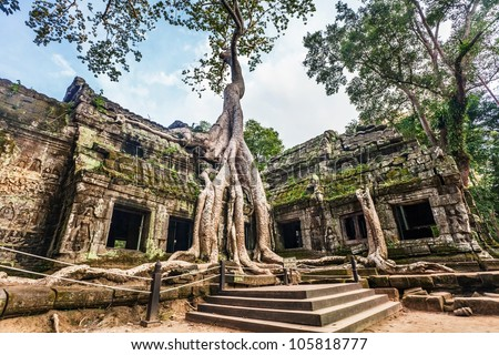 Classical picture of Ta Prohm Temple, Angkor, Cambodia - stock photo