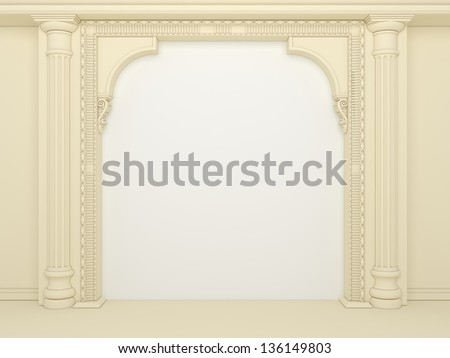 Classical portal with columns and an arcade - stock photo