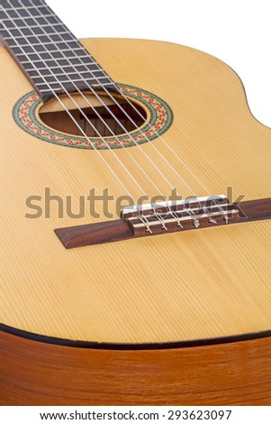 Classical six-string guitar isolated on white background - stock photo