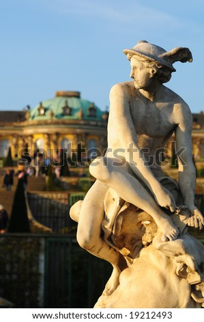 "classical statue in front of ""Castle Sans Souci"" Potsdam, Germany - stock photo"
