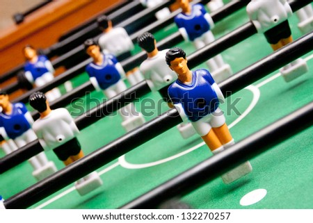 classical table football, focused on the first figure - stock photo