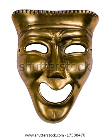 Classical theatrical gold comedy mask over white - stock photo