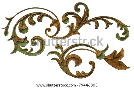 classical vintage decor elements isolated - stock photo