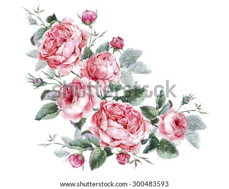 Classical vintage floral greeting card, watercolor bouquet of English roses, beautiful watercolor illustration - stock photo
