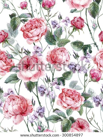 Classical vintage floral seamless pattern, watercolor bouquet of English roses and wildflowers, beautiful watercolor illustration - stock photo