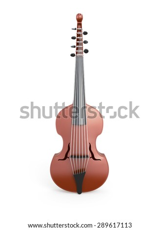 Classical viola d'amore front view isolated on white background. Music instrument. - stock photo