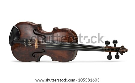 classical violin instrument in front view - stock photo