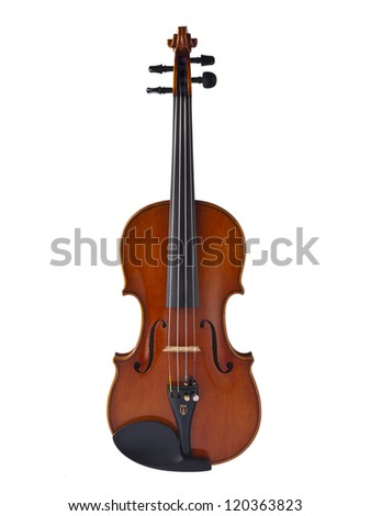 Classical violin isolated in a white background - stock photo