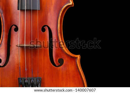 Classical violin on black background - stock photo