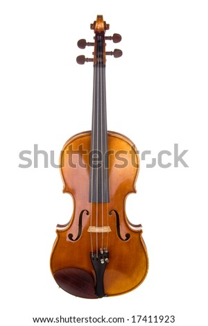 Classical violin or fiddle isolated on white background as seen from the front of the instrument. - stock photo