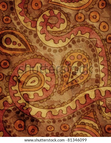 Classical wallpaper with paisley pattern - stock photo