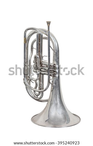 classical wind musical instrument French horn isolated on white background - stock photo