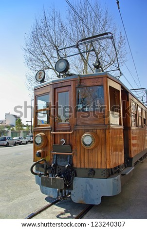 Classical wooden electrical train in Soller (Majorca - Balearic Islands - Spain) - stock photo