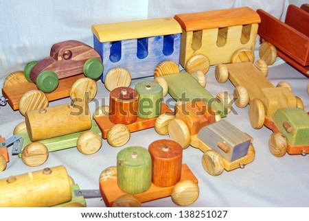 Classical wooden toys for children - stock photo