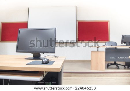 Classroom computer neatly placed in a computer lab.  - stock photo