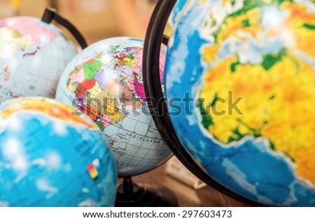 Classroom globes - stock photo