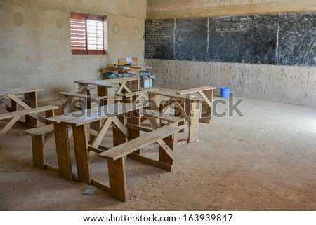 classroom of a primary school in Africa  - stock photo
