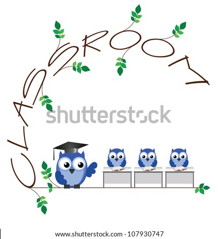 Classroom twig text isolated on white background - stock photo
