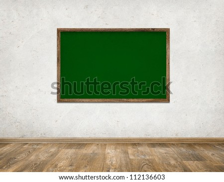 Classroom with green school board chalkboard abckground - stock photo