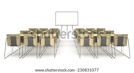 Classroom with wooden desk  isolated on white background 3D rendering  - stock photo