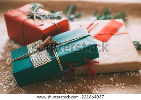Classy Christmas gifts box presents on brown paper - stock photo