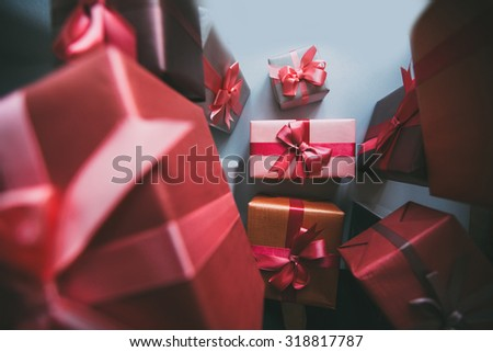 Classy Christmas gifts box presents on gray paper - stock photo