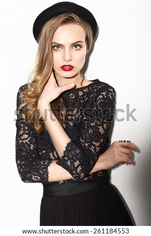 Classy Fashion Model in Dark Lacy Blouse. Vogue Style - stock photo