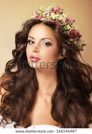 Classy Fashion Model with Perfect Flossy Brown Hair and Wreath of Flowers - stock photo