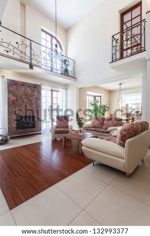 Classy house - interior of an elegant living room - stock photo