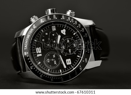 Classy leather wristwatch - stock photo