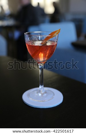 Classy negroni cocktail in a crystal glass - stock photo