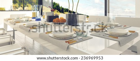 Classy Table Setting at the Dining Area, Emphasizing White Table and Chairs. 3D Rendering.  - stock photo