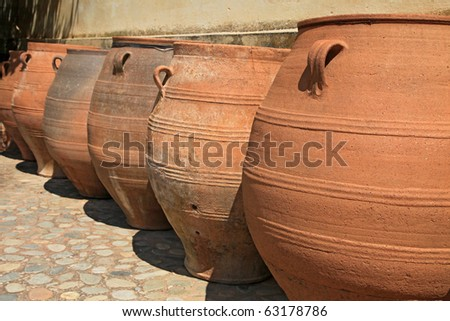 Clay amphoras from the Monastery of Agia Triada (Crete, Greece) - stock photo