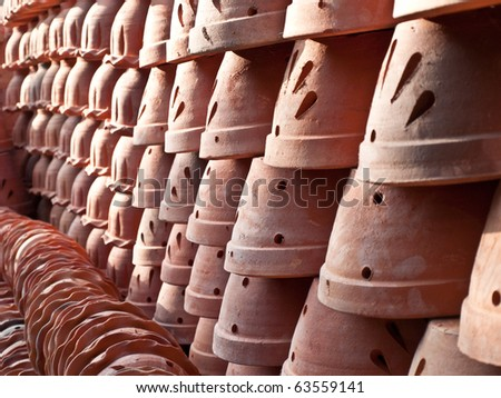 clay flower pots - stock photo