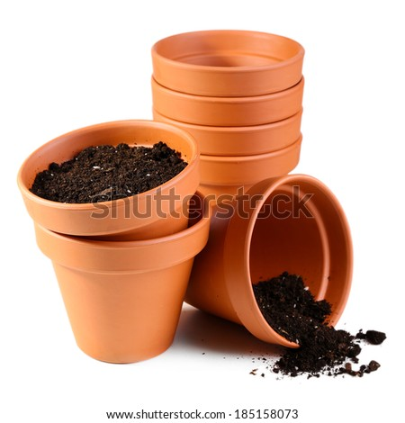Terracotta brown clay flower pot stock photos images for Clay potting soil